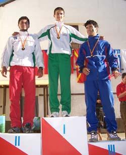 Награждаване – М18 – Спринт – 1. Иван Сираков, 2. Станимир Беломъжев, 3. Йонут Патрас